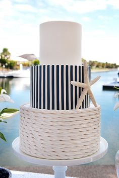 Blue and white stripes combine with rope frosting to make this a simple yet classic wedding cake for any nautical theme wedding. Cute and simple wedding cake! Nautical Wedding Cakes, Nautical Cake, Nautical Party, Starfish Wedding Cake, Sailboat Cake, Wedding Themes, Our Wedding, Dream Wedding, Wedding Decorations
