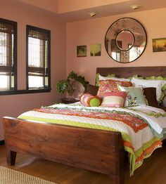 An energetic bedding ensemble is set against a backdrop of soothing wall colors and subtle accessories to balance this bedroom decor. Pink Bedrooms, Bedroom Red, Pretty Bedroom, Bedroom Decor, Master Bedroom, Cabana, Beautiful Bedrooms, Wall Colors, Decoration