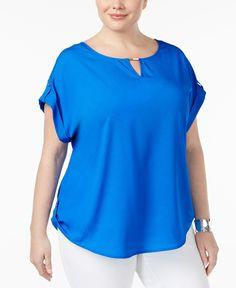 Calvin Klein Plus Size Cap-Sleeve Roll-Tab Blouse