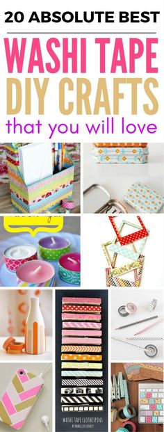 20 Washi Tape Ideas And Crafts that are perfect diy projects for the home, school, scrapbooking, room decor and so much more. They all are SUPER pretty and fun.