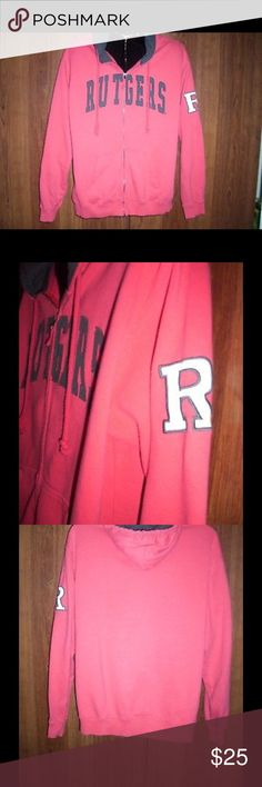 "RUTGERS Hooded Zipper Sweatshirt, Men's Size XL RUTGERS Hooded Zipper Sweatshirt by Colosseum Athletics. Men's Size XL. Full zipper for on/off ease. RUTGERS in Raised Cut-Out Black Letters and White Rutgers Logo with Black Stitching Outline on Left Sleeve. Red hood with Black Lining. Previously Owned in Excellent Condition; the only flaw is the initials TJ is printed in black marker on the inside label. Material: 80% Cotton & 20% Polyester. Measures 27"" from Armpit to Armpit and 30"" from Shoulder to End of Material at Waist. Shirts Sweatshirts & Hoodies"