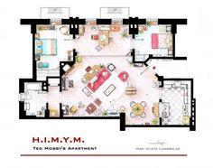 Plantas dos apartamentos de populares séries de TV (Ted Mosby)