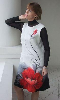 """Купить сарафан """"Маковое лакомство"""" - белый, мак, платье с маком, БЕЛЫЙ И КРАСНЫЙ"""