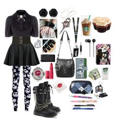"""""""Gothic(back to school)"""" by sasukeuchiha2498 ❤ liked on Polyvore featuring beauty, WithChic, Herz, Topshop, Kate Spade, Levi's, Sony, Lipstick Queen, Betsey Johnson and Coach"""