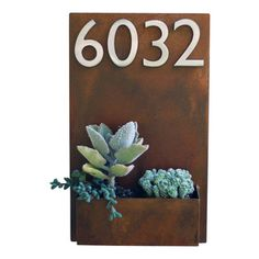 "Urban Mettle - Metal Wall Planter & Address Plaque - 20"" x 12"" Vertical, Rust, With Numbers - Model #: Sucker for Succulents Planter"
