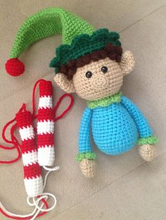 I bought a cute line art (digital stamp) image of an elf online, and colored him in Photoshop. Then used him as a guide for how I was going to crochet this elf (he's the reason for all the ch. Baby Christmas Stocking, Crochet Christmas Ornaments, Christmas Stockings, Christmas Crafts, Christmas Decorations, Christmas Ideas, Crochet Toys, Crochet Baby, Appliques