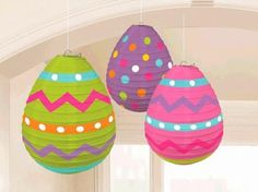 While you decorate your eggs for Easter, let these Easter Egg-Shaped Lanterns decorate your home! These lanterns have colorful designs on the paper and are made with 9.5in metal frames for support. With dots and zigzags, these Easter Egg-Shaped Lanterns are sure to delight your guests as they walk in!