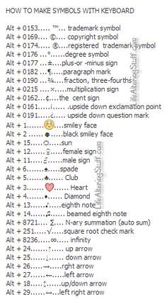 How to make symbols with the Keyboard Oh I miss the 90s! Half of these were in my AIM away message.