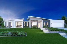 Stillwater Estate Home Designs in Melbourne NW - Essendon Modern Bungalow House, Modern House Plans, Modern House Design, Facade House, House Roof, Home Building Design, Building A House, Style At Home, One Storey House