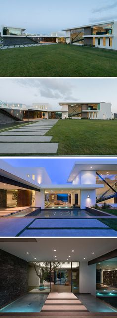 Wide horizontal pavers guide guests to the front door of this modern house, that's reached by steps surrounded by water. Beside the water feature is a chiseled marble ledger stone wall. #ModernHouse #ModernLandscaping