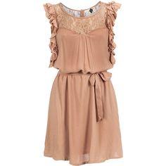 ICHI Dress Cimbe Pink ($35) ❤ liked on Polyvore featuring dresses, vestidos, robe, short dresses, layered dress, short lace dress, red ruffle dress and mini dress