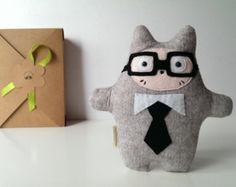 SALE Novelty Plush Toy, Plushie with Glasses. Felt Cat in Tie. Suit up! Funny Toy, Birthday Gift for Boy or Girl