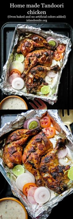 How to make Tandoori chicken at home(oven baked). Have your own Indian themed dinner from the comfort of your home with a Tandoori chicken taking center stage on your table.                                                                                                                                                                                 More #IndianFoodRecipesChicken