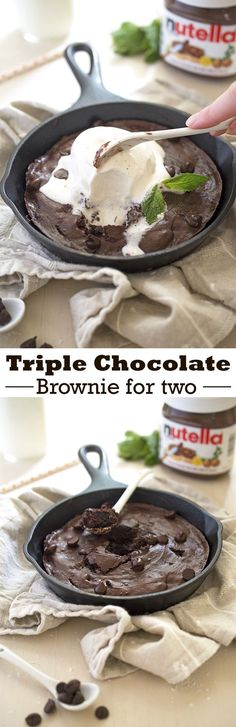 A Large Triple Chocolate Brownie for Two made with Nutella and double the amount of dark chocolate morsels. Serve a la mode with ice cream! | chefsavvy.com #recipe #chocolate #brownie #dessert