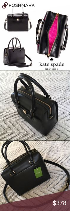 """NWT kate spade black leather satchel Crossbody kate spade montford park smooth ashton Crossbody satchel. NEW WITH TAGS 7.6""""h x 9.8""""w x 4.9""""d total strap length: 45.3"""" smooth leather with matching trim logo faceted stud custom capital kate jacquard lining SATCHEL WITH ZIP TOP CLOSURE AND AN ADJUSTABLE, REMOVABLE STRAP interior zipper and double slide pockets exterior slide pocket with magnetic closure interior zipper and double slide pockets  🎀BUNDLE and SAVE! 🎀REASONABLE offers WELCOME…"""