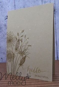 "By Rebecca Hoy. Flower stamp, ""Going to Seed"" by Woodware, is stamped off the edge of a kraft card base. Card Making Inspiration, Making Ideas, Paper Cards, Cards Diy, Beautiful Handmade Cards, Flower Cards, Flower Stamp, Card Making Techniques, Flora"