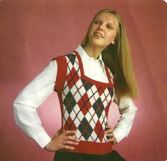 Square neck argyle vest pattern to knit