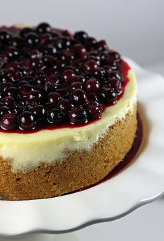 Pinner: Tyler Florence's Ultimate Cheesecake, my favorite cheesecake recipe of all time. (For a change, omit the blueberry topping and add 3/4 cup of chocolate chips to the batter!)