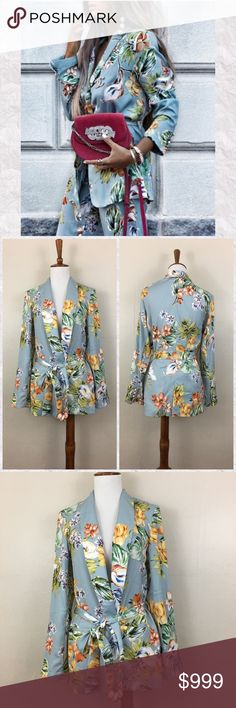 """Zara Floral Belted Long Sleeve Blazer Jacket *Condition: NWT. Tags have been cut to avoid returns.  *Celebrity favorite. Photographed on Emily Ratajkowski  *Style: 2832 205 330 *Long Sleeve *Belts at Waist *Front Pockets *Faux pearl button cuffs  *Shoulder pads: No *Fabric: 100% Polyester  *Lining: No  *Measurements are approx & taken lying flat *Shoulder To Wrist: 23"""" *Bust: 36"""" *Shoulder to hem: 25"""" *Across back shoulder seams: *Stored in non-smoking pet free home. Zara Jackets & Coats Blazers Emily Ratajkowski Style, Floral Blazer, Zara Jackets, Shoulder Pads, Fashion Design, Fashion Tips, Fashion Trends, Blazer Jacket, Kimono Top"""