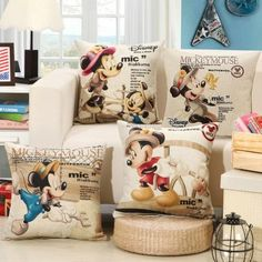 wholesale 4 colors Cartoon Mickey decorative cushion covers for sofa car office bedding cushion cover withou Pillow core Disney Home Decor, Disney Diy, Disney Crafts, Disney Stuff, Walt Disney, Disney Throw Pillows, Disney Rooms, Disney House, Disney Quilt