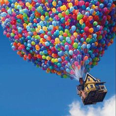 Just grab some colourful balloons and fly somewhere nice...