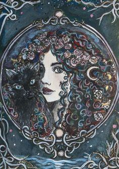 This is an x inches high quality PRINT of an Original work of art entitled Rosa~Lune Rosa Lune adorns herself in roses. The warm scent fills her hair with an aura of love-magick permeating. Psychedelic Art, Creation Art, Witch Art, Arte Pop, Dark Art, Art Inspo, Fantasy Art, Cool Art, Art Drawings
