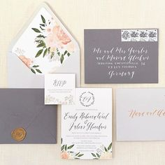 My first collection of semi-customizable wedding suites is on its wayyyyy. Here's the 'Lilly' suite with customizable logo, logo wax seal, hand-lettered calligraphy, and ink/ envelope colors. Stationery Paper, Stationery Design, Wedding Prints, Watercolor Wedding Invitations, Wedding Save The Dates, Wedding Stationary, Wedding Signs, Wedding Stuff, Creative Studio