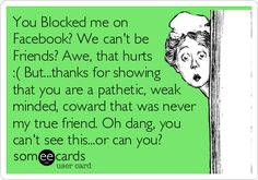 You Blocked me on Facebook? We can't be Friends? Awe, that hurts :( But...thanks for showing that you are a pathetic, weak minded, coward that was never my true friend. Oh dang, you can't see this...or can you?