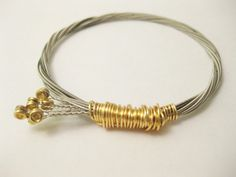 Guitar String Bangle - Silver String and Gold Wire Wrapped- Handmade Recycled Jewelry