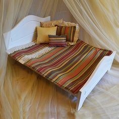 Comforter, rainbow stripes with lace, bedding set- for dolls