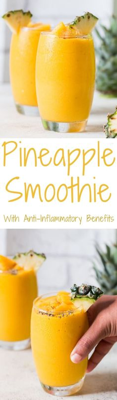 Pineapple Smoothie It's smoothie time. This is tropical pineapple smoothie with anti-inflammatory benefits. A tropical treat with big health benefits plus it's one delicious thick and frosty smoothie! This Anti-inflammatory pineapple smooth Best Smoothie, Good Smoothies, Smoothie Drinks, Smoothie Bowl, Morning Smoothies, Vegan Smoothies, Yummy Drinks, Healthy Drinks, Healthy Recipes