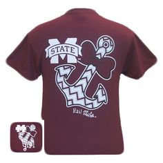 MSU Mississippi State Bulldogs Chevron Anchor Bow Girlie Bright T Shir | SimplyCuteTees