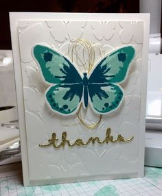 hand crafted thank you card ... Watercolor Wings with touches of gold on the card ... Stampin' Up!