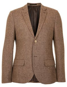 Don't let it's tweed-y appearance fool you, this jacket's blended composition makes it lighter than it looks. Brown tweed blazer ($160) by Topman, topman.com   - Esquire.com
