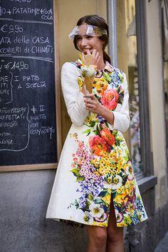 Dolce & Gabbana floral coat + Stern visor @luisaviaroma #firenze4ever