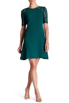 Floral Lace Sleeve Stretch Crepe Dress by Taylor on @nordstrom_rack  Style #: 53945MY