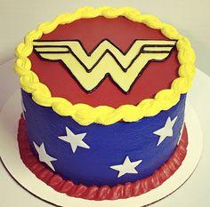 Wonder Woman birthday cake. Single round. All buttercream.