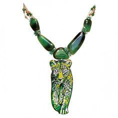 Necklace in yellow gold 18 ct, diamonds, emerald, Jade and micromosaic by SICIS