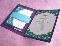 Handmade Indian Lotus wedding invitation booklet with loop