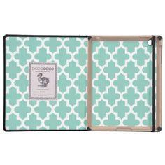 Aqua Modern Moroccan Pattern iPad Case