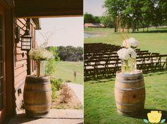 Wine barrel wedding decor.