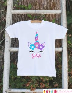 Girls Unicorn Birthday Shirt - Six Unicorn T-shirt #clothing #children #girl @EtsyMktgTool #birthdayshirt #kidsbirthdayshirt