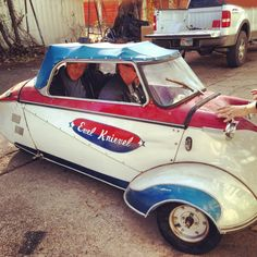 Phipps Auto-    Dewaine and Richard (Gas Monkey Garage) in the Evel Knievel Messerschmitt car that Richard bought while in Vegas.