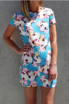All About Eve - Tea Party Shift Dress This gorgeous shift dress in a vibrant blue and floral print is the perfect dress for Summer fun!  $79.95 SHOP ll http://www.jeanjail.com.au/ladies/all-about-eve-tea-party-shift-dress.html