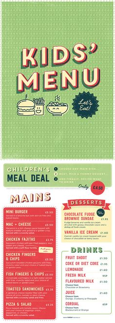 Children's, Kids Food Graphic Design Menu. Colourful, illustration, typography by www.diagramdesign.co.uk