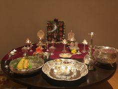 Diy Diwali Decorations, Festival Decorations, Flower Decorations, Temple Design For Home, Rituals Set, Silver Pooja Items, Pooja Mandir, Silver Lamp, Pooja Room Design