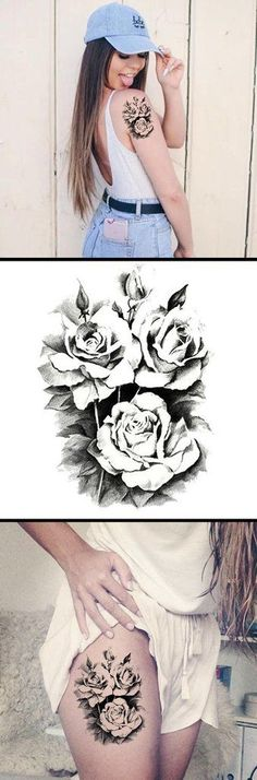 Vintage Rose Thigh Tattoo Ideas - Realistic Black Floral Flower Arm Sleeve - Temporary Tattoos at www.MyBodiArt.com