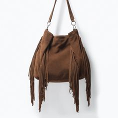 LEATHER BUCKET BAG WITH FRINGES-Handbags-WOMAN | ZARA United States