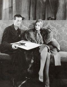 Greta Garbo  with designer Adrian,1930