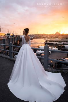 Satin Wedding Dresses Wedding dress Tilda by Blammo-Biamo. Bateau neckline long sleeves open back ball gown simple elegant royal satin wedding dress. Based in Vancouver, Canada. Western Wedding Dresses, Classic Wedding Dress, Long Wedding Dresses, Long Sleeve Wedding, Perfect Wedding Dress, Bridal Dresses, Wedding Gowns, Wedding Dress Long Train, Modest Wedding